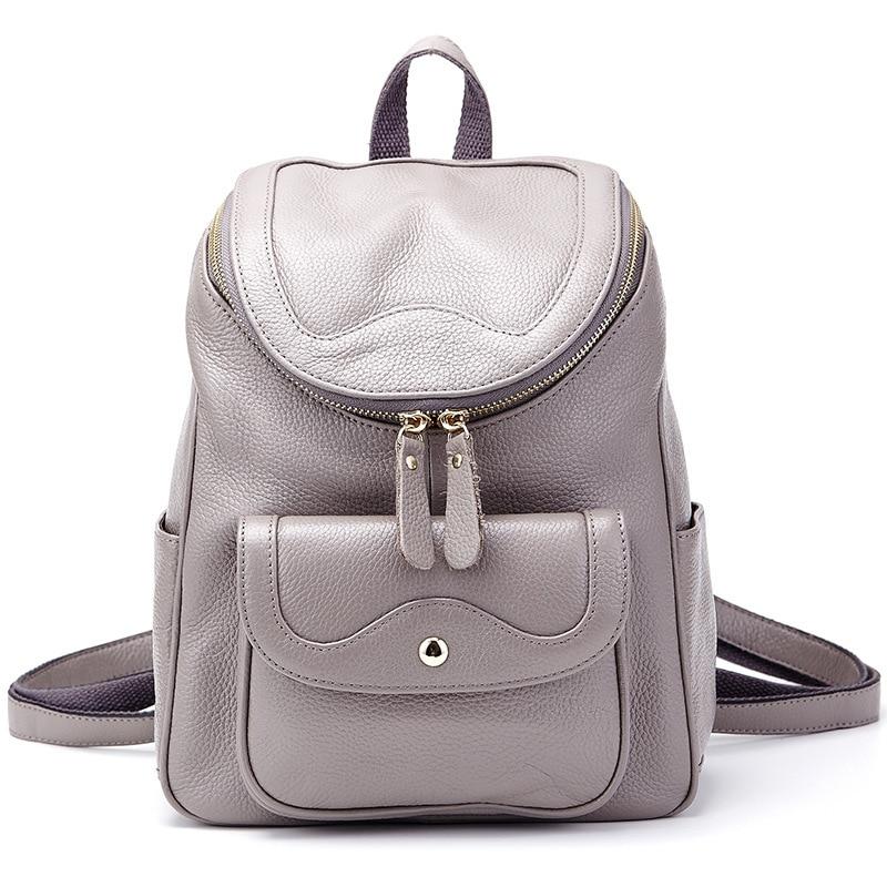 2017 New Fashion Women Backpack Genuine Leather Women Bag Travel Bag Female Business Bag School Backpack High Quality DC252