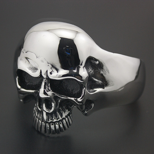 Image 4 - 316L acier inoxydable énorme crâne lourd hommes Biker Rocker Punk Bracelet Bracelet manchette 5J022