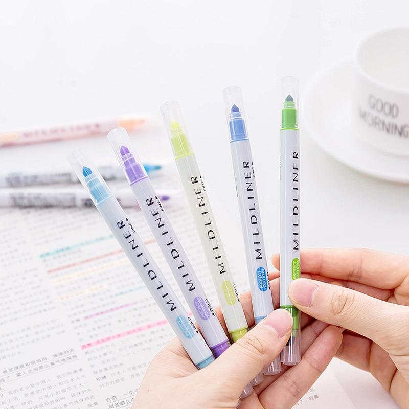 Kawaii Mildliner Pen set Mild liner Highlighter Pens Double Headed hilighter scribble Cute pastel chalk Mark Art Japanese 1M804 ...