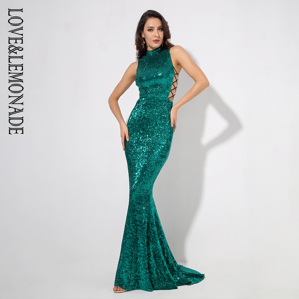Love&Lemonade   Green Collar Side Cut Out Fishtail Slim Elastic Sequins Long Dress LM1151-in Dresses from Women's Clothing    1