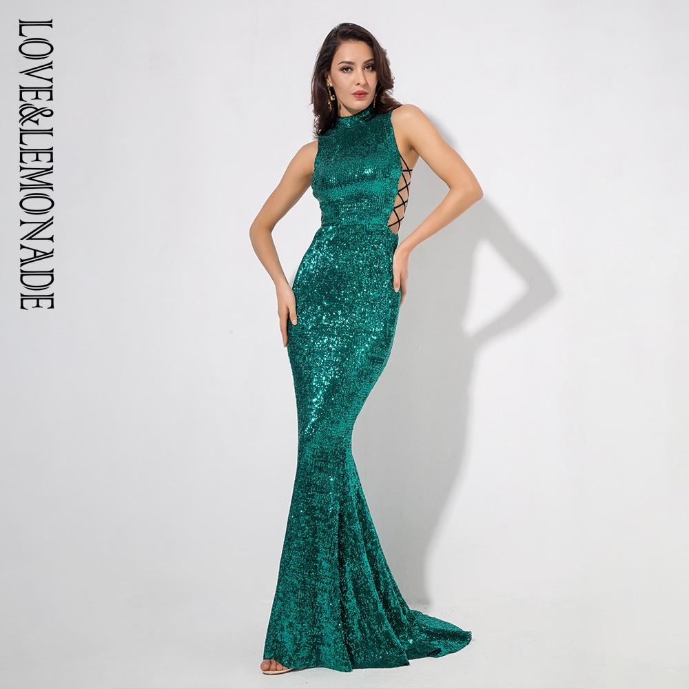 Love&Lemonade   Green Collar Side Cut Out Fishtail Slim Elastic Sequins Long Dress LM1151