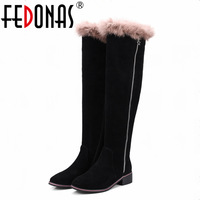 FEDONAS Women Full Suede Knee High Boots Autumn Winter Warm Over The Knee High Boots Genuine