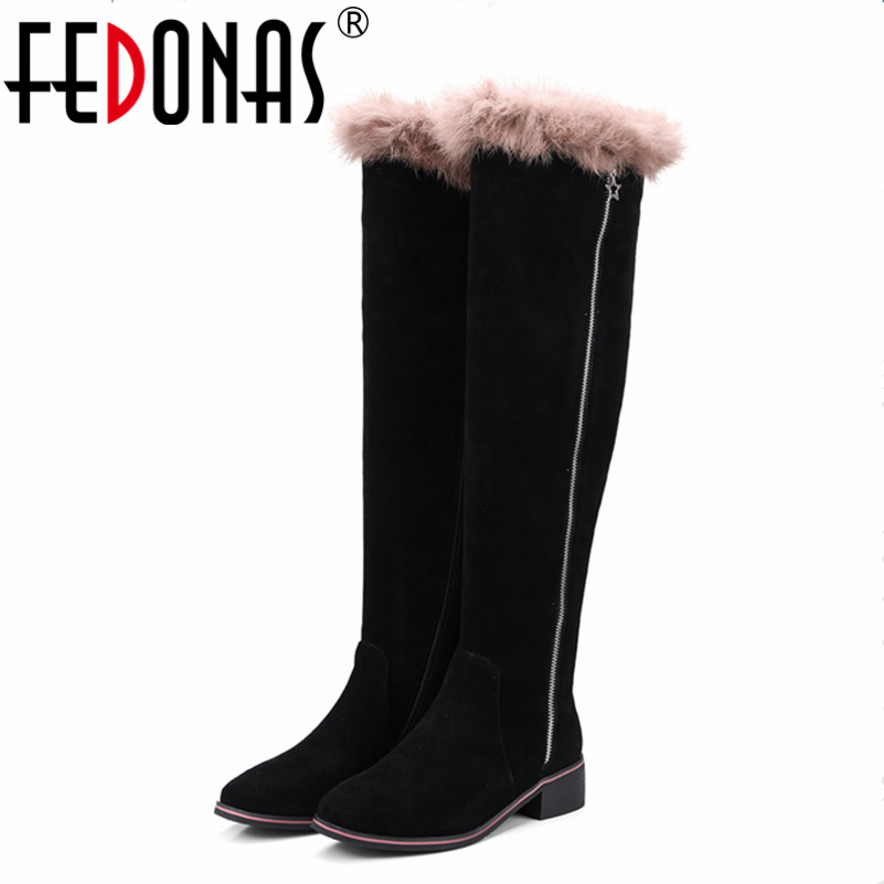 FEDONAS Women Full Suede Knee High Boots Autumn Winter Warm Over The Knee High Boots Genuine Leather Rabbit Fur Shoes Woman pritivimin fn81 winter warm women real wool fur lined shoes ladies genuine leather high boot girl fashion over the knee boots