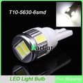 2W T10 W5W 6SMD 5630 LED Reverse Backup Light with Convex Lens,194 168 Car Marker Lamp 12V 161 912 Side  Bulbs 921 Marker Light
