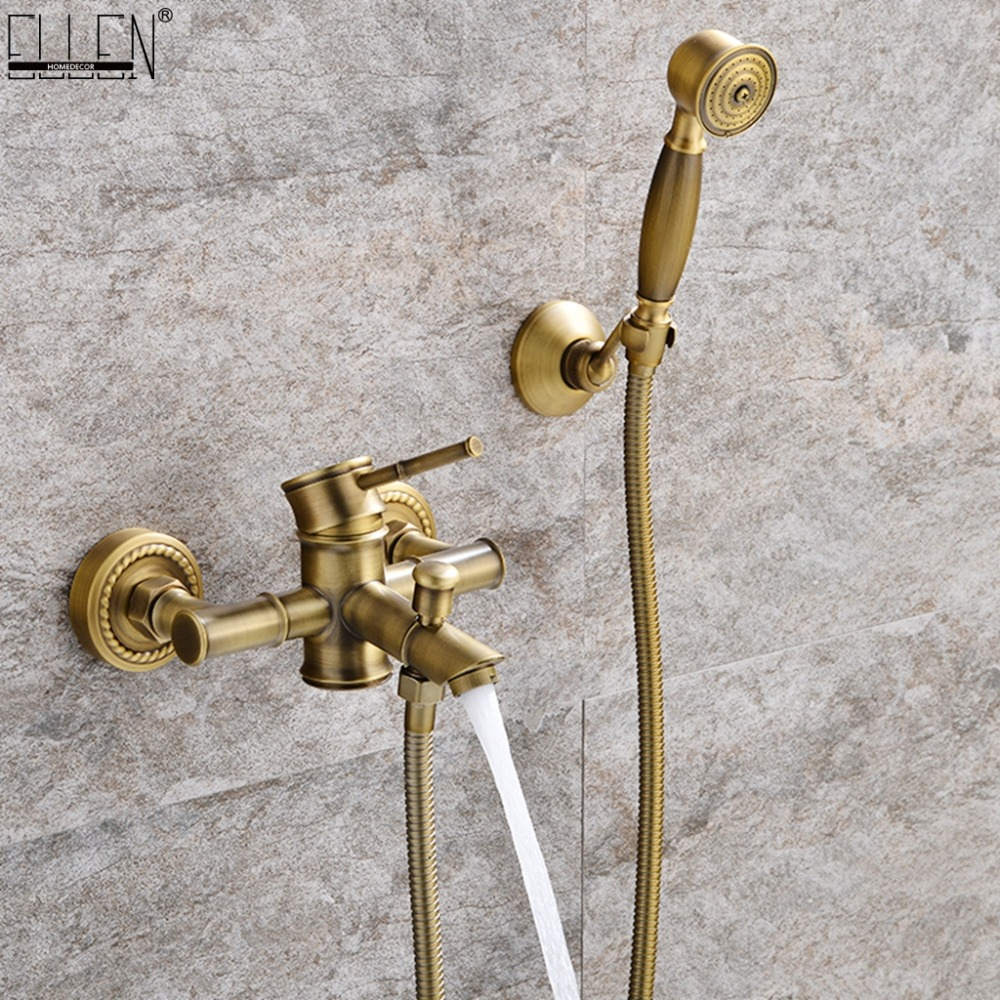 Bathroom Bamboo Bath Shower Faucets Set Bathtub Faucet Water Mixer Crane Tap Antique Bronze Finished with Hand Shower EL740Bathroom Bamboo Bath Shower Faucets Set Bathtub Faucet Water Mixer Crane Tap Antique Bronze Finished with Hand Shower EL740