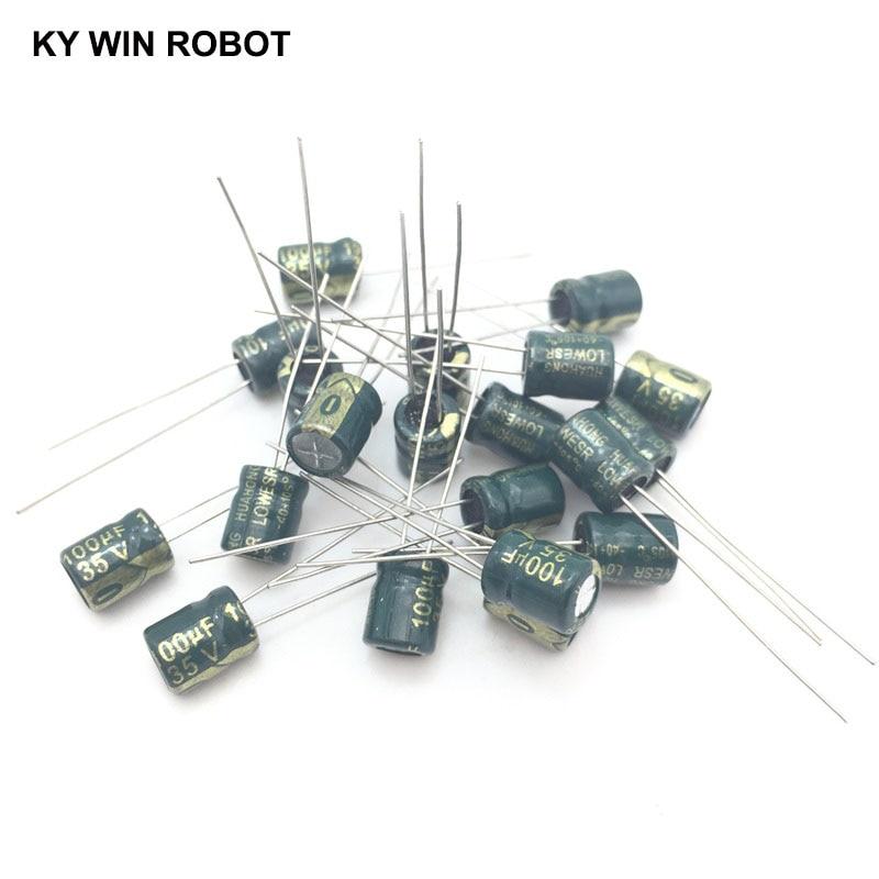 Pengiriman gratis 50 pcs/lot 35 V 100 UF 6*7mm 6mmX7mm Aluminum electrolytic capacitor ic