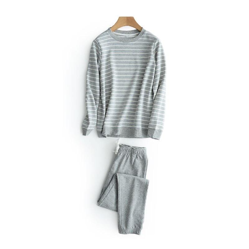 Winter Gestrickte Baumwolle Warme Pyjamas Sets Für Männer Komfort Nachtwäsche Streifen Pyjama Homme 2 stücke Anzug Hause Tragen Pijama Masculino