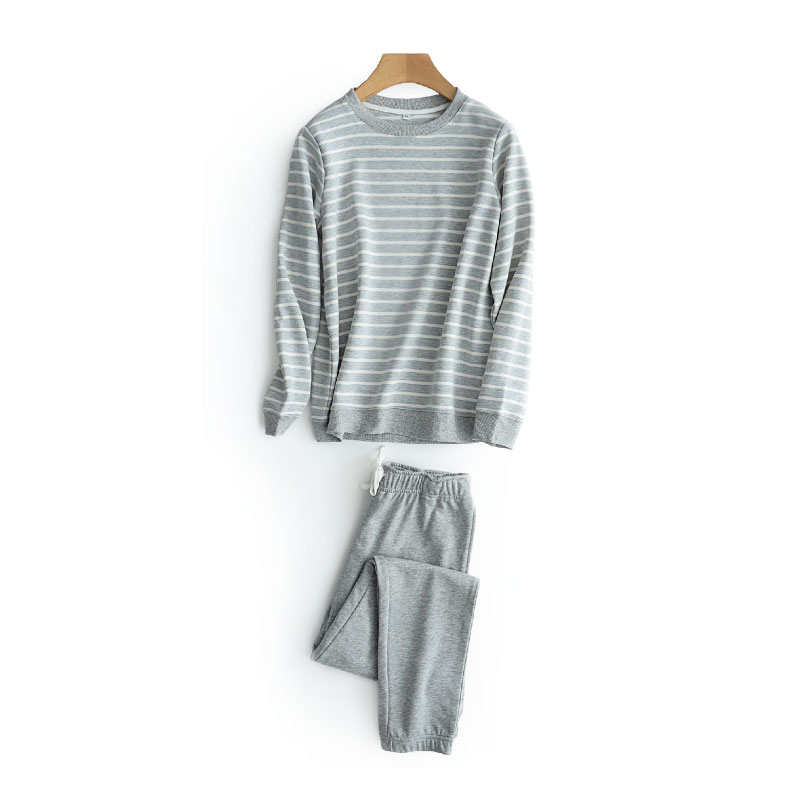 Winter Knitted Cotton Warm Pajamas Sets For Men Comfort Sleepwear Stripe Pyjama Homme 2 Pcs Suit Home Wear Pijama Masculino