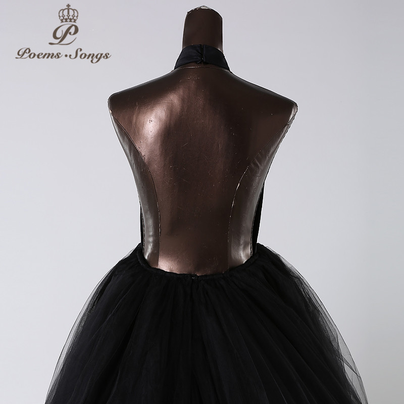 PoemsSongs 2019New style custom made Very sexy backless wedding dress white black red vestido de noiva brides dress ball gown - 5