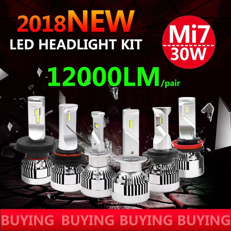 2Pcs Mi7 New LED Bulb Car Headllight H4 H7 9005 9006 H11 H1 LED 60W 6500K Fog Light 12V 24V Auto Headlamp Lamps with LED Driver