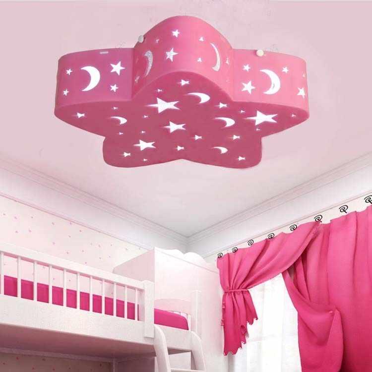 五芒子供のピンク/ブルールーム天井ライトled女の子男の子部屋の寝室のランプクリエイティブ漫画照明スター武LU721179