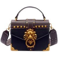 Fashion Metal Lion Head Mini Small Women Leather Handbags Luxury Handbags Women Bags Designer Famous Brands Ladies Shoulder Bag