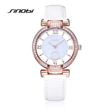 SINOBI Ladies Fashion Watches with Diamond Women's Quartz Watch Green Leather Rose Gold Case Female's Alloy Wristwatches AB2208