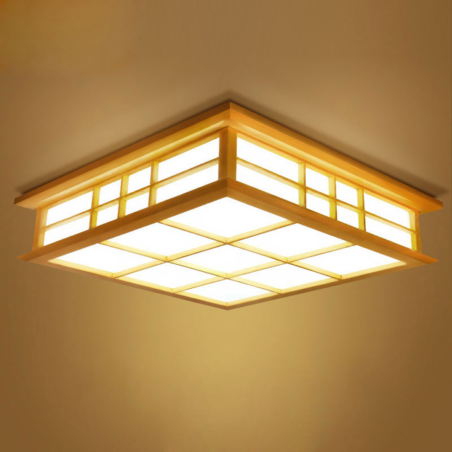 Japanese Tatami Led Ceiling Lamp Bedroom Ultra Thin: Ceiling Lights Japanese Style Tatami Lamp LED Wooden