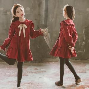 Image 1 - Girls Dress 2020 Fall New Children Cotton Dress Baby Princess Dress Cotton Toddler Dresses for Girls Temperament Bow,#5314