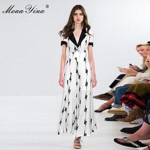 Image 3 - MoaaYina ensemble de créateurs de mode printemps été femmes à manches courtes col en v hauts de bureau + jambe large clochette bas deux pièces costume