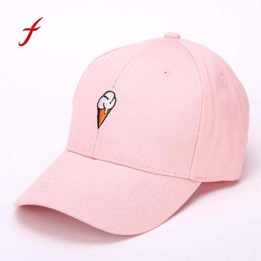 Feitong 2018 Lovely Ice Cream Embroider Men Women Peaked Hat HipHop Curved Strapback Snapback Baseball Cap Adjustable Sun Hats