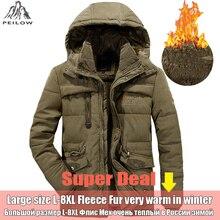 PEILOW зимняя куртка мужская плюс размер 5XL 6XL 7XL 8XL утолщенная теплая хлопковая стеганая куртка с меховым капюшоном ветровка мужская парка пальто