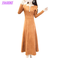 YAGENZ Autumn Winter Big Swing Dress Temperament Ladies High Waist Thin Long Sleeves Dress Women Party