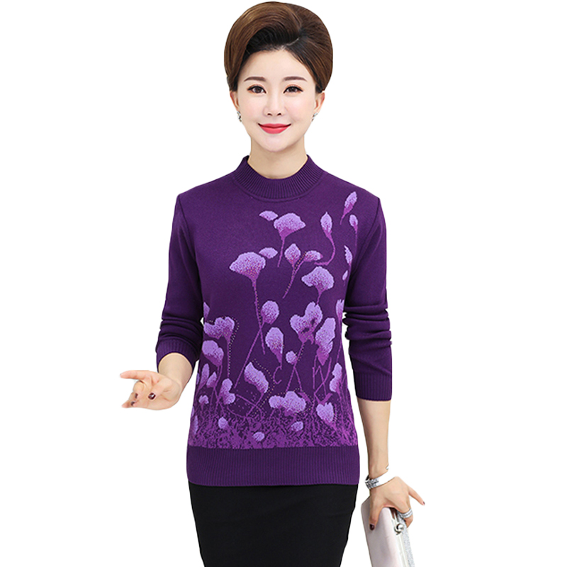 Pullover Sweater Knitwear Middle-Age Bottom-Shirt Women Jumper Floral-Printed Autumn Winter