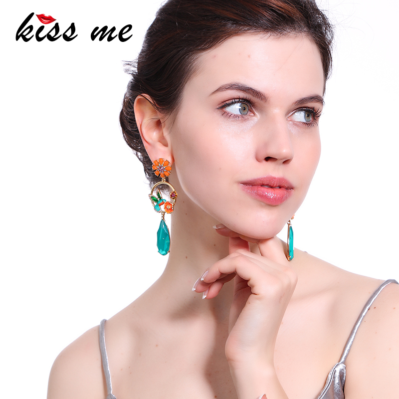 KISS ME Colorful Water Drop Flower Bird Earrings Women Cute Crystal Enamel Drop Earrings Fashion Jewelry