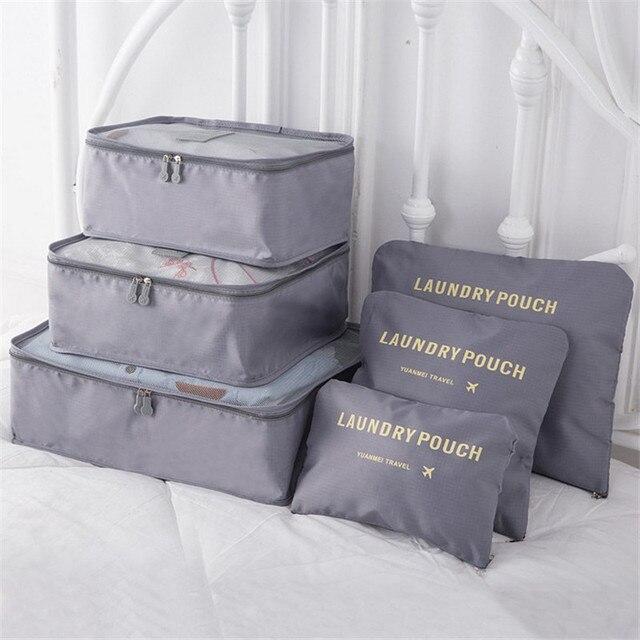 6Pcs Travel Storage Bags Set Clothes Underwear Organizer Waterproof Storage  Pouch Suitcase Closet Divider Container Organizer