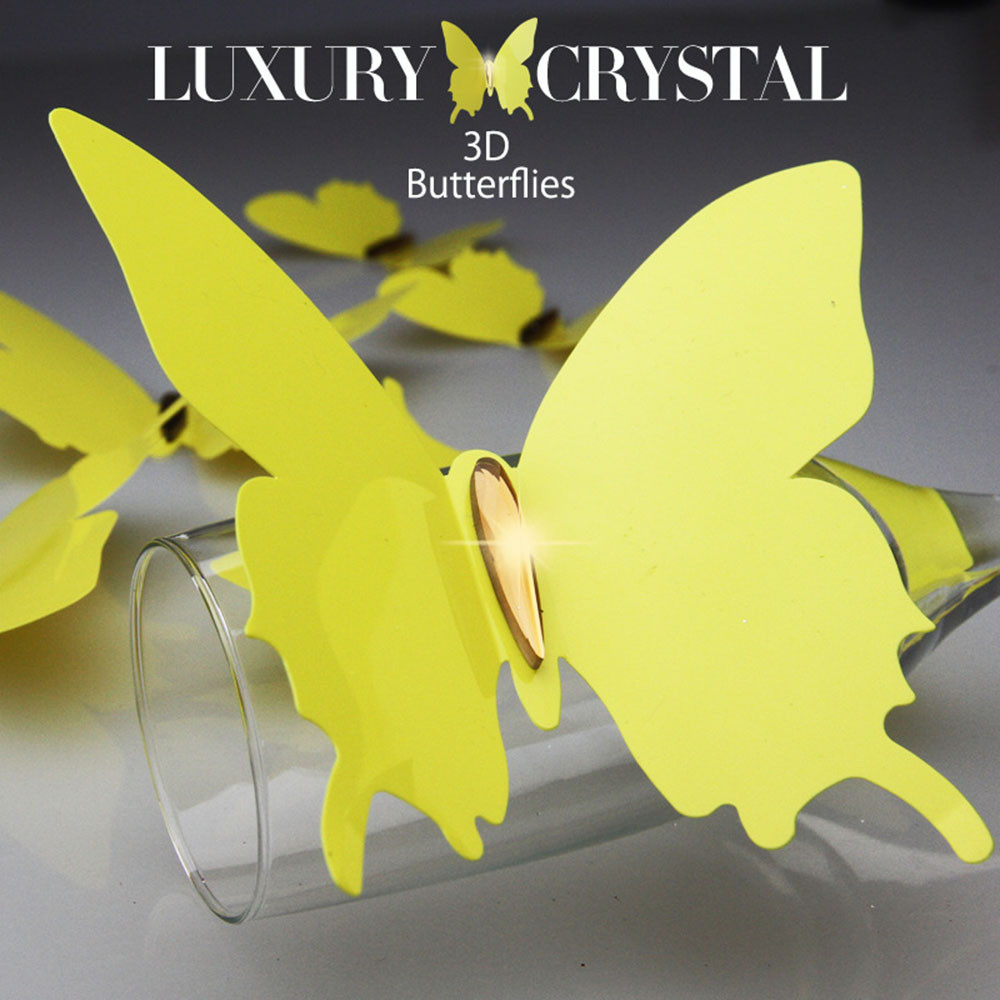 Hi Q 12pcs per set 3D Crystal Butterfly wall stickers on the wall ...