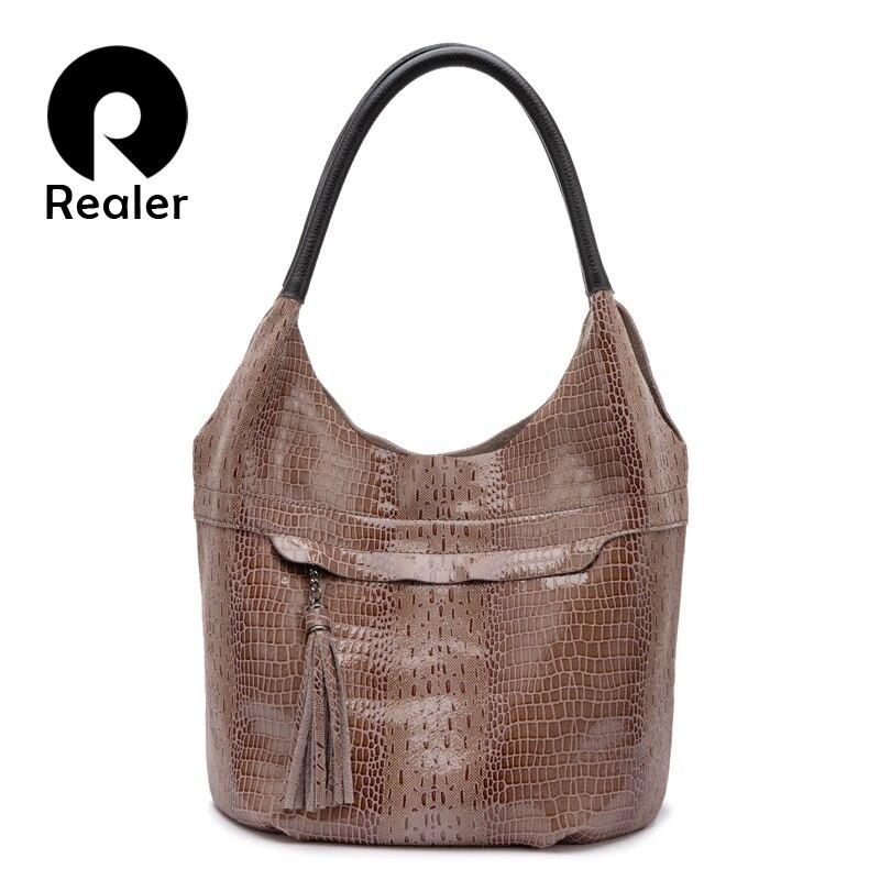 Realer Genuine Leather Women Shoulder Bag Tote Tassel Handbag Designer Female Hobo Bag High Quality Crossbody Bags Luxury Ladies