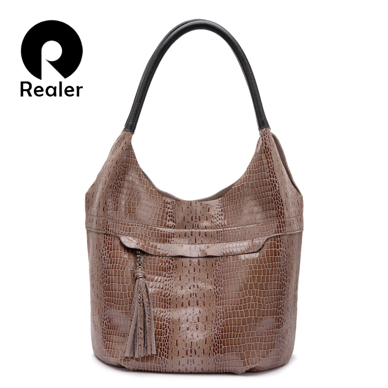 Realer Genuine Leather Women Shoulder Bag Tote Tassel Handbag Designer Female Hobo Bag High Quality Crossbody Bags Luxury Ladies