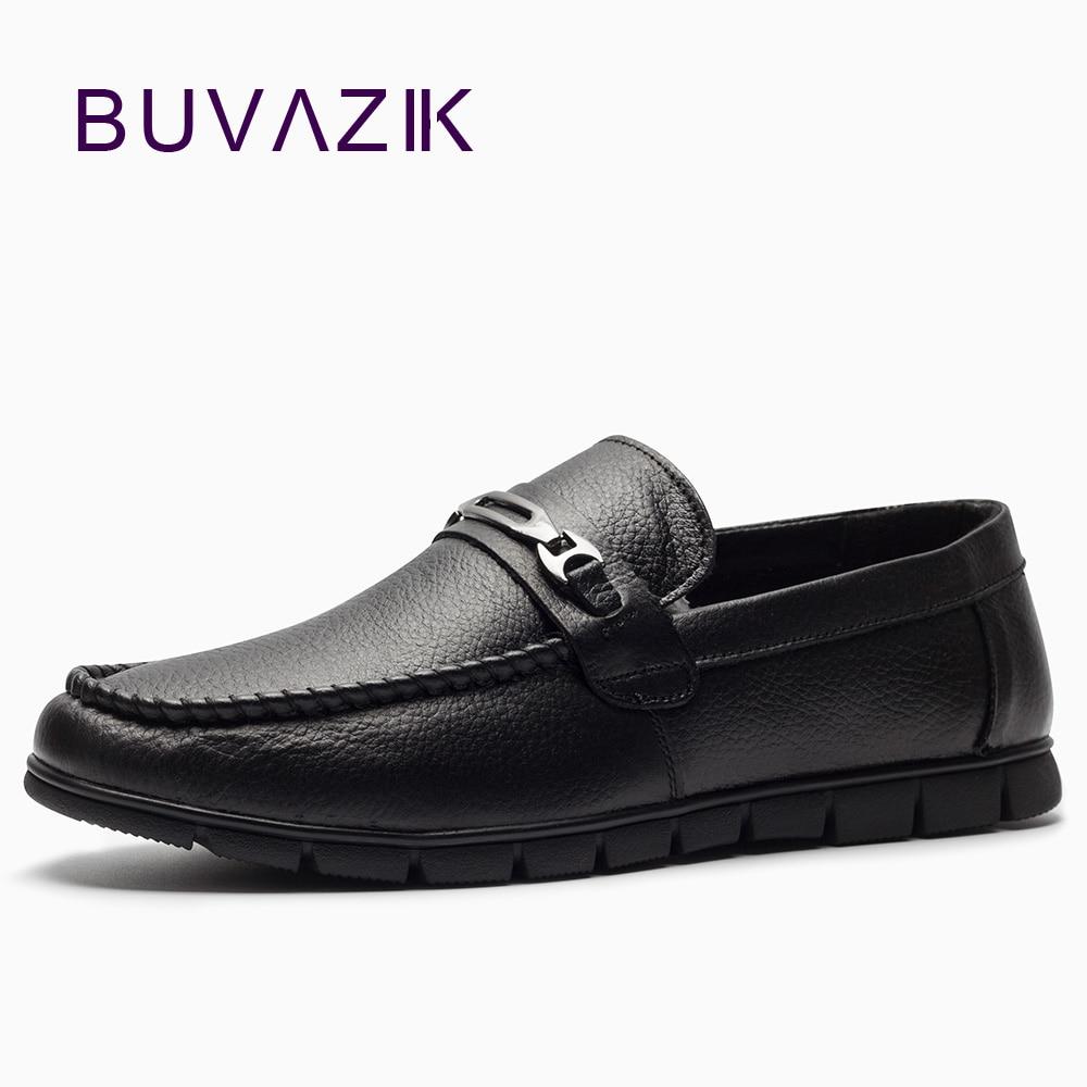 BUVAZIK 2018 äkta läder casual män skor, bekväma mjuka läder - Herrskor