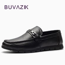 BUVAZIK 2018 äkta läder casual män skor, bekväma mjuka läder män loafers, slip-on män lägenheter mode