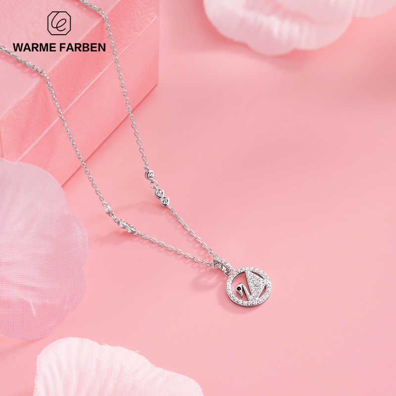 Warme Farben Women Pendant Necklace Real 925 Silver chain white Cute  Romantic Small Swan Necklace Crystal