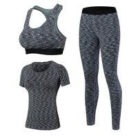 Women S Yoga Sets 3pcs Brand Sport Tight Short Sleeve Shirt Bra Pants Fitness Leggings Running