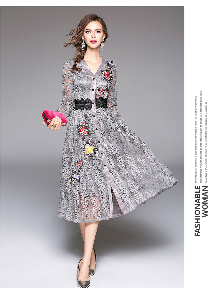 Sky Blue V-neck Floral Embroidered Lace Dress Autumn Dresses Women 2018 Vestido De Festa Hollow Out Christmas Dress K945180 14