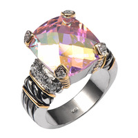 Hot Sale Rose Rainbow Crystal Zircon925 Sterling Silver High Quantity Ring For Men and Women Size 6 7 8 9 10 F1339