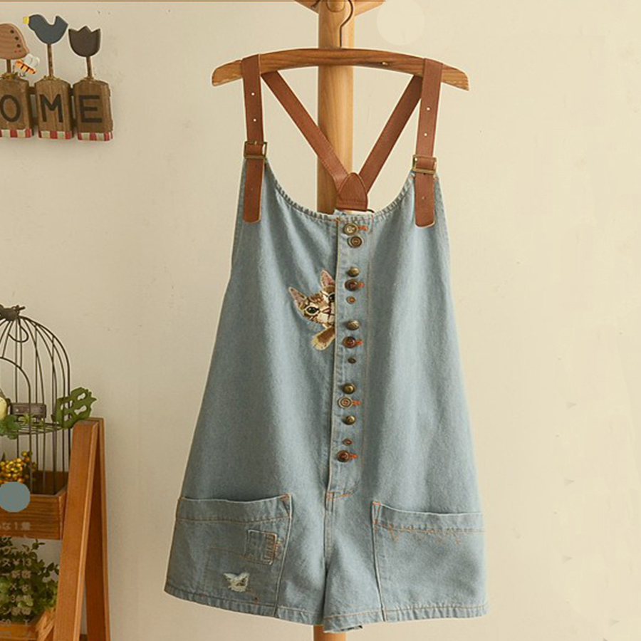 Casual Short Blue Jean Rompers Cat Embroidery   Jumpsuits   For Summer Japanese Mori Girl Denim Overalls Loose Playsuit Overol Mujer