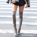 2016 Hot Sale Women Stretch Faux Suede Over the Knee Boots Thigh High Boots Fashion High Heels Boots Woman Shoes Plus Size 35-46