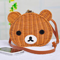 Cute Teddy bear Beach Bag Handmade Cartoon Women's Handbag Shoulder Bag Girls Rattan Straw Bag Vintage Casual Bucket