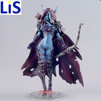 Lis New 17CM WOW Sylvanas Windrunner Archery Queen PVC Action Figure Model With Base Collection Boy