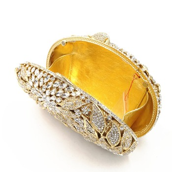 Luxury Rhinestone Gold Metal Leaves White Crystals Evening Clutch  6