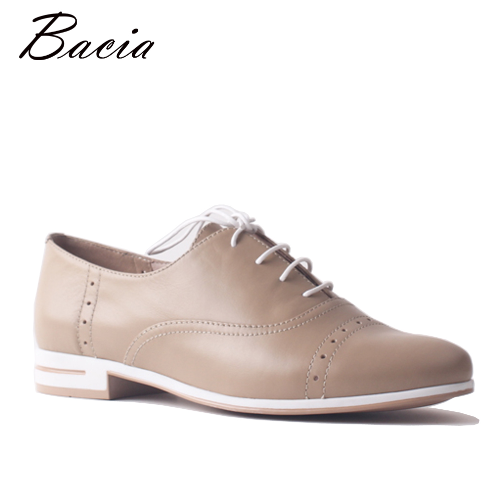 Bacia Women Flat Genuine Leather Shoes Loafers Ladies Lace Up Flats Casual Female Cow Leather Sneakers Driving Soft Shoe SA092 swonco women s flats ladies shoe genuine leather 2018 spring autumn female shoe ladies shoes leather lace up casual women flats