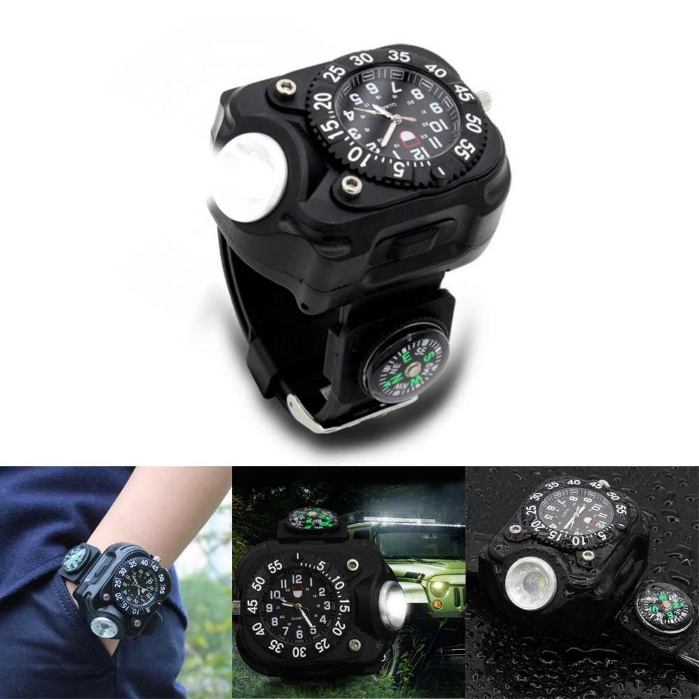 Self Defense Supplies 3in1 Super Bright Led Watch Flashlight Torch Lights Compass Outdoor Sports Mens Fashion Waterproof Rechargeable Wrist Watch Lamp