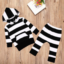 2PCS Baby Striped sets Boys Girl Autumn Hooded Sweatshirt Tops Pants Outfits Tracksuit 0-24M
