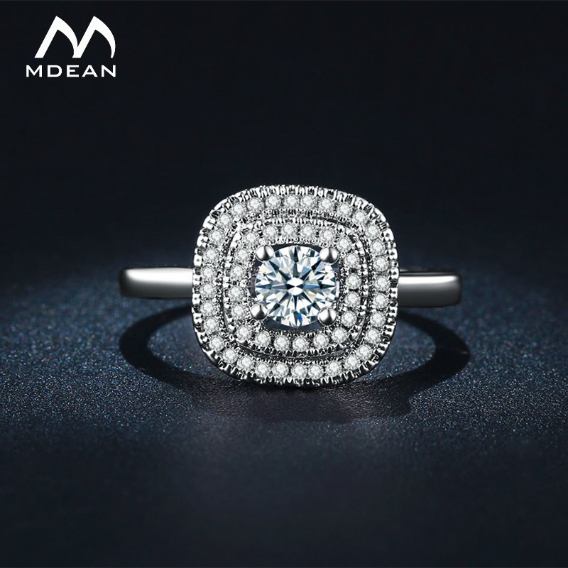 MDEAN White Gold Color Engagement Rings for Women AAA Zircon Jewelry Wedding Bague Bijoux Accessories Size 6 7 8 9 MSR111