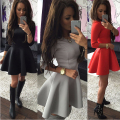 2017 Sexy Slim Women Mini Dress Long Sleeved Black Grey Red Solid Color Ball Gown Dress European And American Style