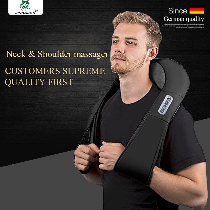 JinKaiRui Wireless Electric Shiatsu Back Neck Shoulder Body Jade Massage Infrared Heating Kneading Massager Pillow Pain