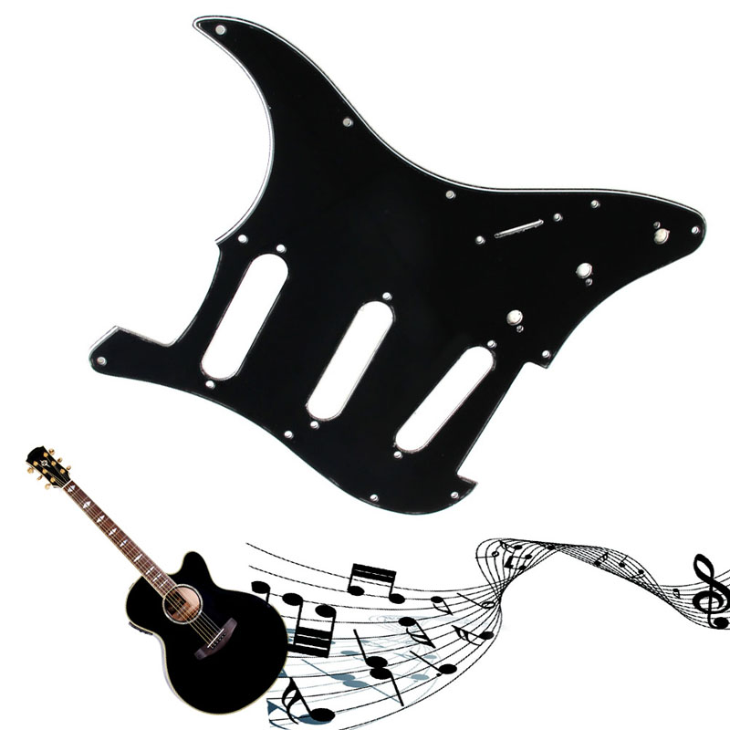 1PC 3Ply Guitar Pickguard Scratch Plate For Fender Strat Parts Pearl Black Guitar Parts 3 ply electric guitar pvc pickguard for fender strat st musical stringed instruments guitar parts