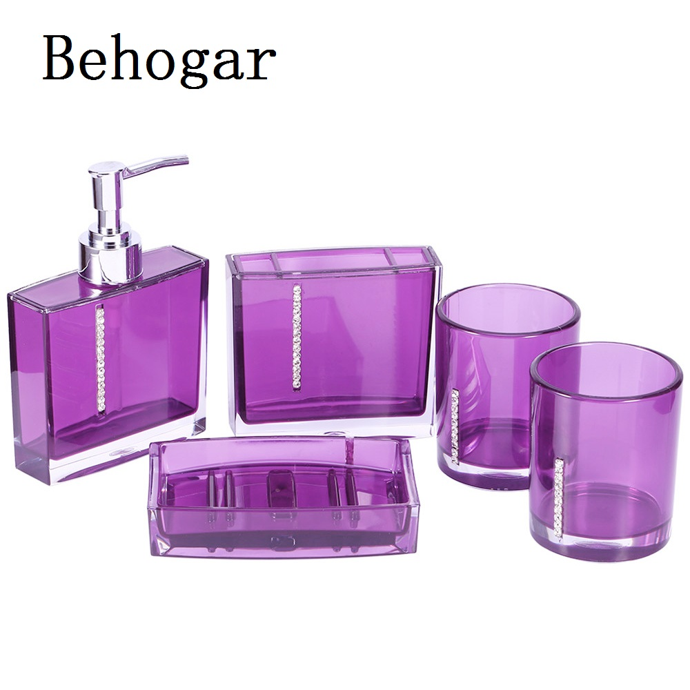 Behogar 5PCS Bathroom Washroom Rhinestone Press Liquid Soap Dispenser Bottle Soap Dish Toothbrush Holder Wash Cup Accessories