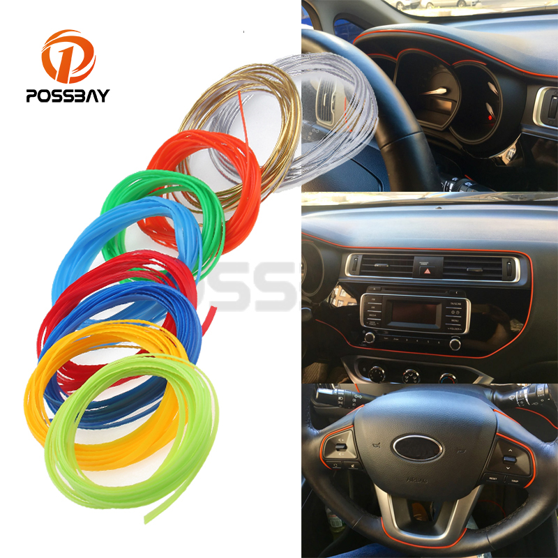 Us 3 6 20 Off Possbay 5m Universal Flexible Car Interior Moulding Trim Strip Line Diy Decoration Gold Silver Blue Lorry Pickup Car Styling In