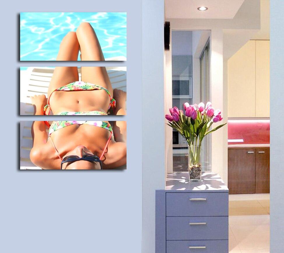 Heißer Verkauf Bikini Schönheit Sexy Frau 3 Panels Wandkunst Ungerahmt malerei Wohnzimmer Decor HD Drucken Bild Beste Geschenk für Freund